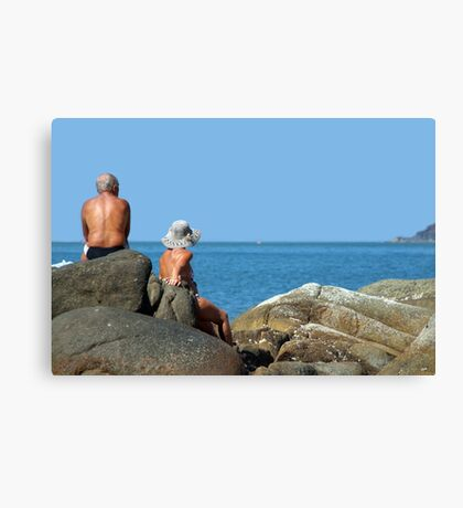 Sitting on Rocks Palolem Canvas Print