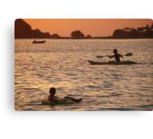 Kayak and Inflatable Ring at Sunset Palolem Canvas Print
