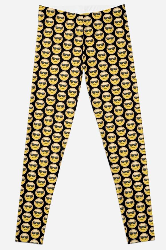 """Emoji Sunglasses Face Black Background"" Leggings by ..."