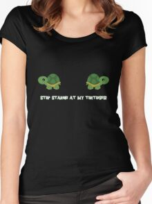 Stop staring at my tortoises! Women's Fitted Scoop T-Shirt