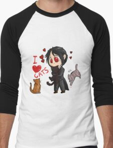 Black Butler - I love cats Men's Baseball ¾ T-Shirt