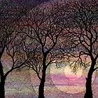 Winter Trees on Pink Watercolors by martaharvey