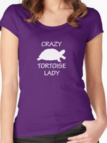 Crazy Tortoise Lady (White) Women's Fitted Scoop T-Shirt