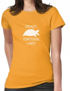 Crazy Tortoise Lady (White) Womens Fitted T-Shirt