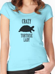 Crazy Tortoise Lady (Black) Women's Fitted Scoop T-Shirt