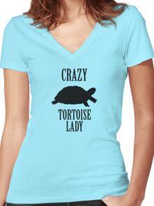 Crazy Tortoise Lady (Black) Women's Fitted V-Neck T-Shirt