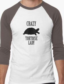 Crazy Tortoise Lady (Black) Men's Baseball ¾ T-Shirt