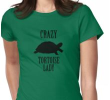 Crazy Tortoise Lady (Black) Womens Fitted T-Shirt