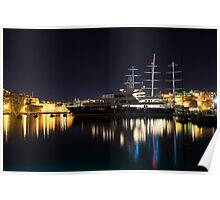 Reflecting on Malta - Luxury Superyachts in Valletta Poster
