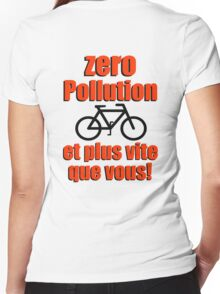 Zero Pollution (Fr) Women's Fitted V-Neck T-Shirt