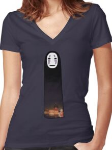 no face 3 Women's Fitted V-Neck T-Shirt