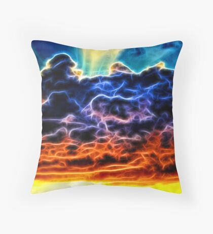 Biblical Electrified Cumulus Clouds Skyscape Throw Pillow