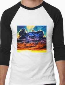 Biblical Electrified Cumulus Clouds Skyscape Men's Baseball ¾ T-Shirt