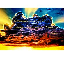 Biblical Electrified Cumulus Clouds Skyscape - Psalm 19 1 Photographic Print