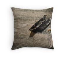 Fishing Boats on the Mekong Throw Pillow