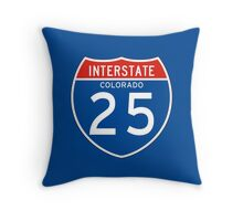 Interstate Sign 25 Colorado, USA Throw Pillow