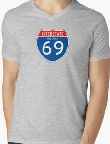 Interstate Sign 69 Indiana, USA Mens V-Neck T-Shirt