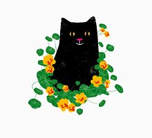 Black cat with nasturtiums Unisex T-Shirt