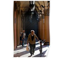 Walking the bicycle, Portico, Bologna, Italy Poster