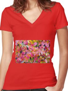 Background of vivid red leaves of autumn bush close-up Women's Fitted V-Neck T-Shirt