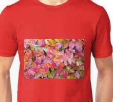 Background of vivid red leaves of autumn bush close-up Unisex T-Shirt