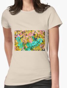 Background of vivid red and green autumn bush leaves Womens Fitted T-Shirt