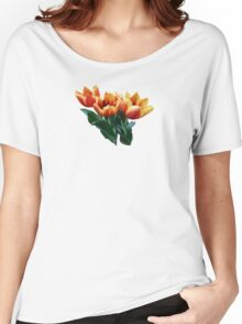 Three Orange and Red Tulips Women's Relaxed Fit T-Shirt