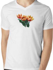 Three Orange and Red Tulips Mens V-Neck T-Shirt