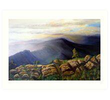 Dawn creeps over the mountains Art Print