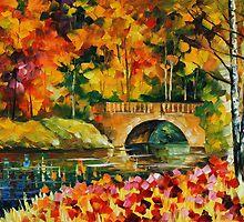 FALL BRIDGE - LEONID AFREMOV by Leonid  Afremov