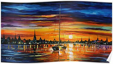 CALM SUNSET - LEONID AFREMOV by Leonid  Afremov