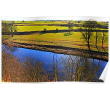 Looking South West across the River Tees from Gainford . Poster