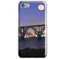 Moon Shine At The Yaquina Bridge And Bay iPhone Case/Skin