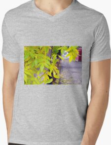 Ash with yellow leaves and pavement tiles Mens V-Neck T-Shirt
