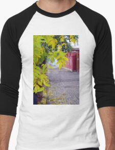Ash branches with yellow leaves and pavement tiles Men's Baseball ¾ T-Shirt