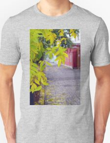 Ash branches with yellow leaves and pavement tiles Unisex T-Shirt