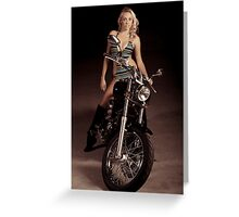 Blond Biker Greeting Card