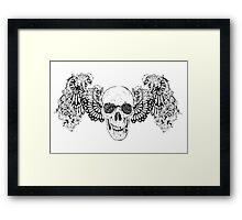 Gothic Skull with wings Framed Print