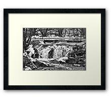 Saint Vrain River Waterfall Black and White Framed Print