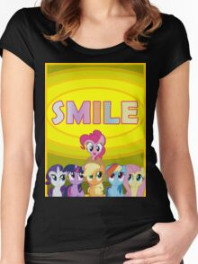 Smile! - Pinkie Pie (Bordered) Women's Fitted Scoop T-Shirt