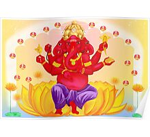 Trimukha Ganesha, the three faced diety Poster