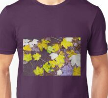 Top view of a wet autumn maple leaves closeup Unisex T-Shirt