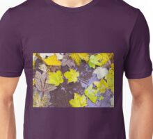 Overhead view of a wet autumn maple leaves closeup Unisex T-Shirt