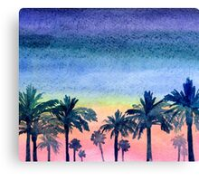 Palms and summer sunset Canvas Print