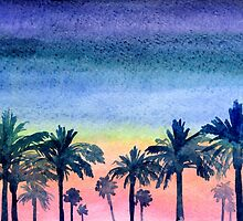 Palms and summer sunset by Vinchenko
