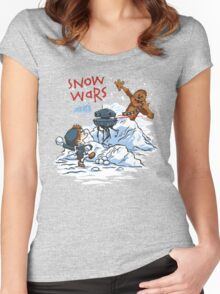 Calvin And Hobbes snow wars Women's Fitted Scoop T-Shirt
