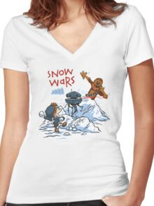 Calvin And Hobbes snow wars Women's Fitted V-Neck T-Shirt