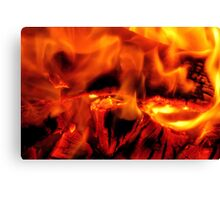 burning log fire Canvas Print