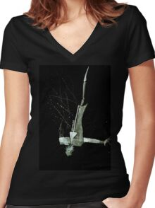Let's Draw Sherlock The Reichenbach Fall Women's Fitted V-Neck T-Shirt