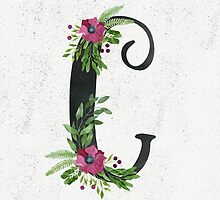 Monogram C with Floral Wreaths by helga-wigandt